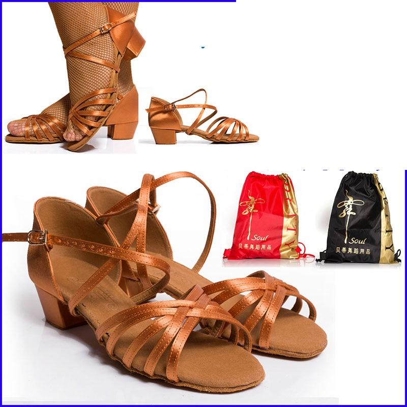 Παπούτσια χορού Χριστουγεννιάτικα δώρα BD 603 Παπούτσια χορού λαϊκής αίθουσας χορού για κορίτσια Παιδικά παιδιά HEEL 3.5cm σατέν Δωρεάν τσάντα παπούτσια Έκπτωση