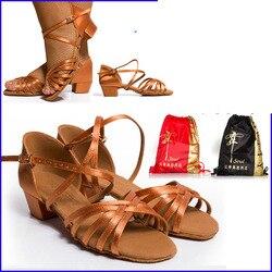 Zapatos de baile regalo de Navidad BD 603 zapatos de baile latino para niñas niños tacón de niños 3,5 cm zapatos de satén gratis bolsa descuento