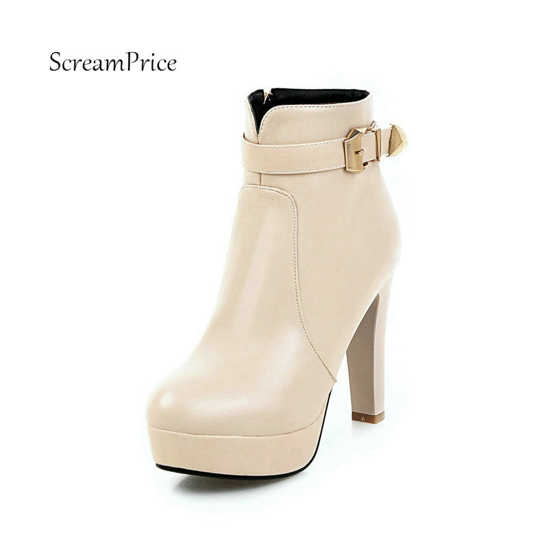 Women Platform Square High Heel Ankle Boots Fashion Side Zipper Round Toe Shoes Woman White Beige Red Black only true love women ankle boots full grain leather high square heel round toe shoes woman black