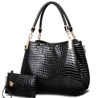 2017 Big Capacity Black White Shoulder Bags Crocodile Borse Women Totes Lady Handbag Purse Wallet Carteras