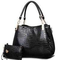 2017 Big Capacity Black White Shoulder Bags Crocodile Borse Women Totes Lady Handbag Purse Wallet Carteras