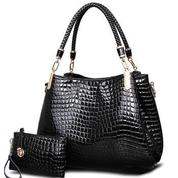 2017 big capacity black white shoulder bags crocodile borse women totes lady handbag+purse/wallet carteras mujer  kit 2 bags/set