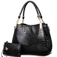 2017 grande capacità di sacchetti di spalla di coccodrillo bianco nero borse delle donne totes borsa della signora + della borsa/raccoglitore carteras mujer kit 2 sacchetti/set