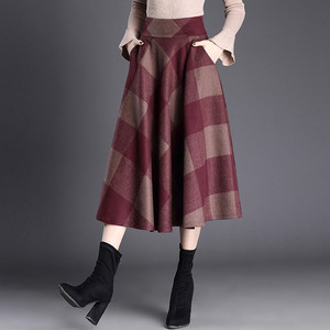 Image 5 - VANGULL Printed Plaid woolen Skirt 2019 Autumn new Plus Size High Waist Ball Gown Skirt Winter Casual Large swing Thick Skirts