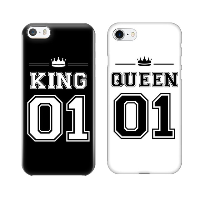 the latest 9123e 359fb US $1.55 40% OFF King 01 Queen 01 Couple Phone Case For iPhone X 10 Cute  Matching Hard PC Phone Bags Covers For iPhone 5 5S SE 6 6S Plus 7 8 Plus-in  ...