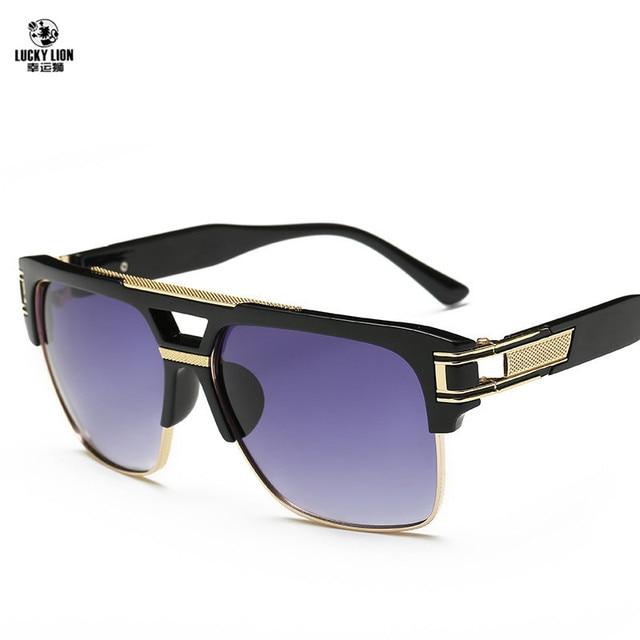 Top Quality Men Sunglasses 2017 Brand Design Big Square Semi Rimless Sun Glasses Men Luxury Unisex UV400 CdcdZkX