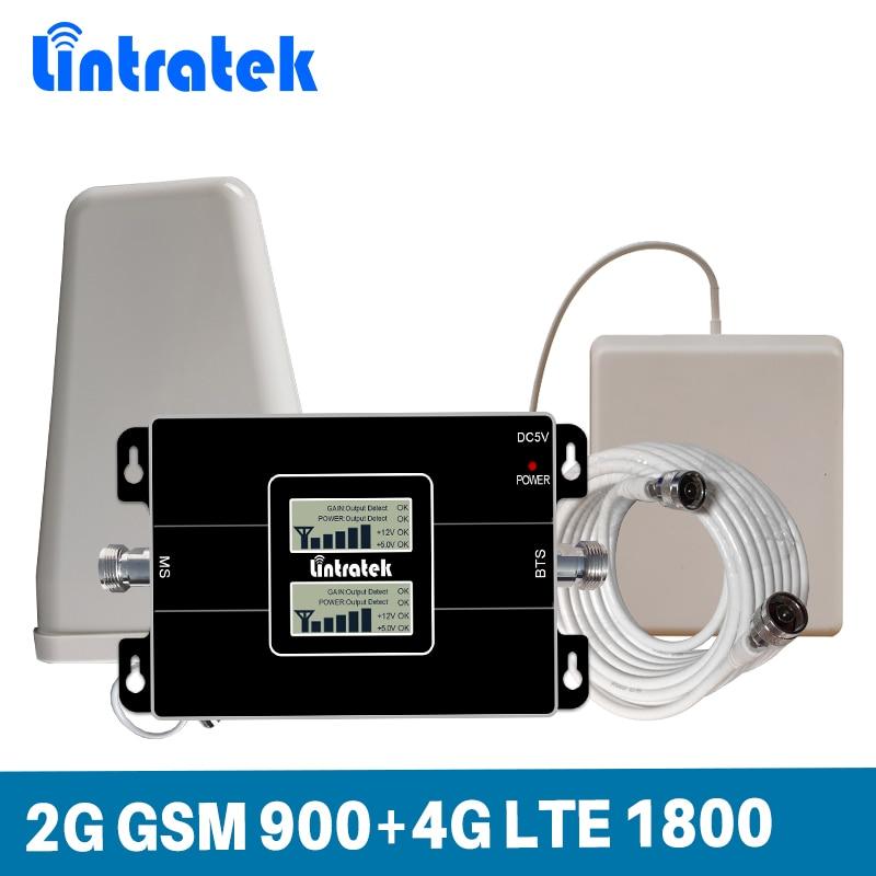 Gain 65dB Double LCD Affichage Dual Band Signal Booster 2G GSM 900 MHz et 4G LTE DCS 1800 MHz Téléphone Portable Répéteur de Signal ensemble complet kit
