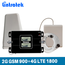 Lintratek Dual Band Signal Booster 2G GSM 900MHz 4G 1800MHz LTE DCS Repeater 900 1800 CellPhone Signal Booster KW17L GD Full kit