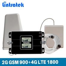 をlintratekデュアルバンド信号ブースター 2 グラムgsm 900mhz 4 グラム 1800mhzのlte dcsリピータ 900 1800 携帯電話信号ブースターKW17L GDフルキット