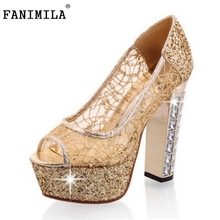 Free shipping thick high heel shoes women sexy fashion lady platform pumps P14235 hot sale EUR size 31-43