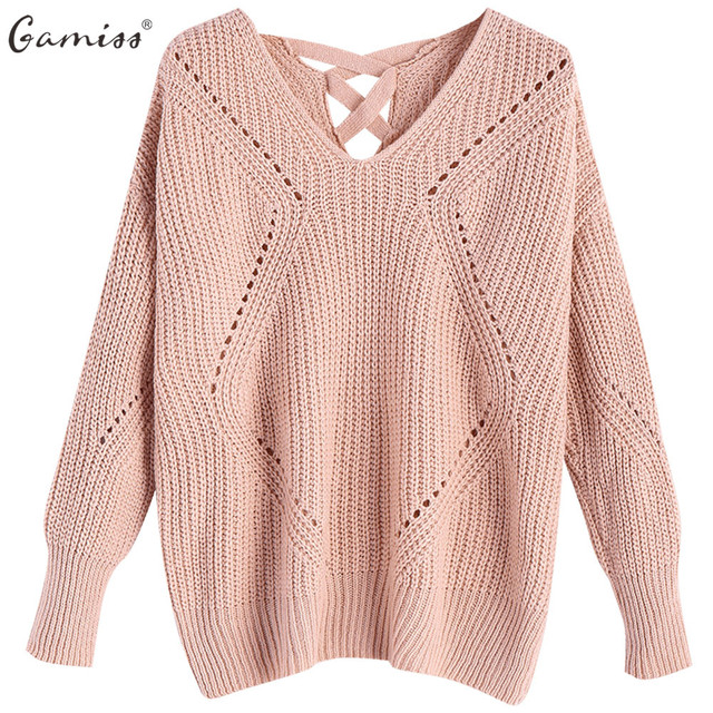 c5a3f19e69 Gamiss Women V Neck Criss Cross Sheer Sweater Casual Autumn Long Sleeves  Drop Shoulder Knitted Pullovers Fashion Pull Femme