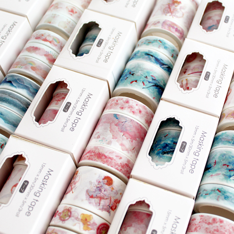 3 Pcs/pack  Magic Sakura Cloud Van Gogh Washi Tape Set Adhesive Tape DIY Scrapbooking Sticker Label Masking Tape