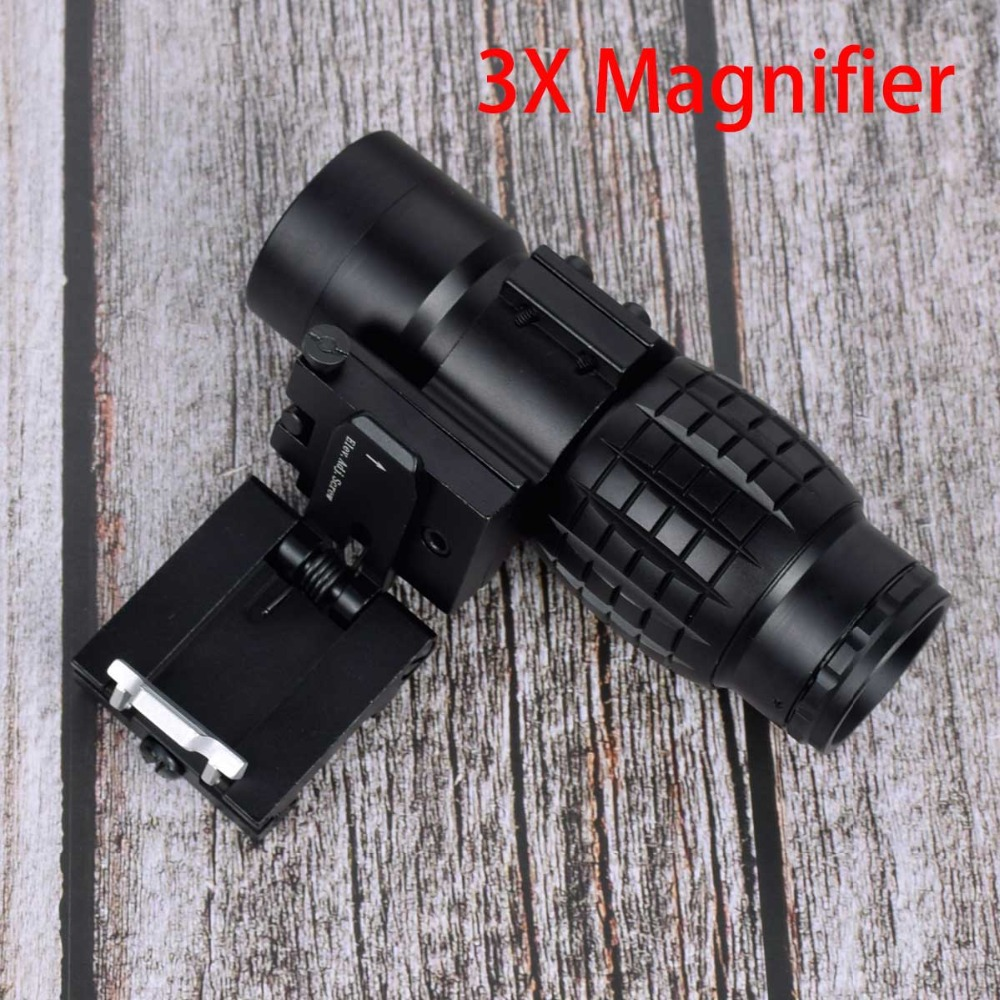 Tactical red dot sight scope 3x Magnifier Compact Sight with Flip UP Mount Side picatinny Airsoft Rifle gun rail mount Hunting