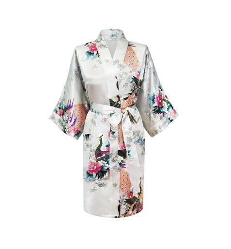 De alta Calidad de Las Mujeres Blancas de Poliéster Kimono Robe Gown Vintage Nueva Impreso Camisón Dropshipping Tamaño S M L XL XXL XXXL