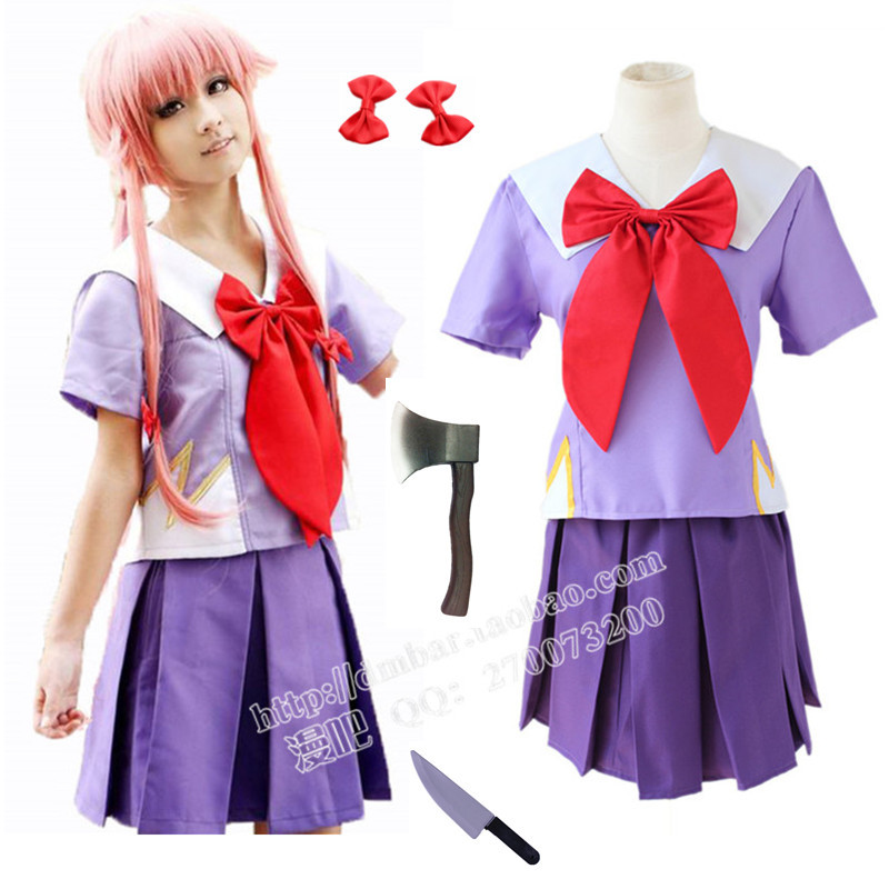 Free Shipping New Arrival Women Halloween Anime Future Diary 2nd Mirai Nikki Yuno Gasai Costume Cosplay(China)