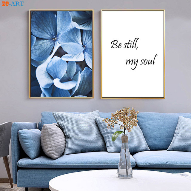 Quote Print Indigo Navy Blue Flower Poster Nursery Wall Art Modern Canvas Painting For Living Room