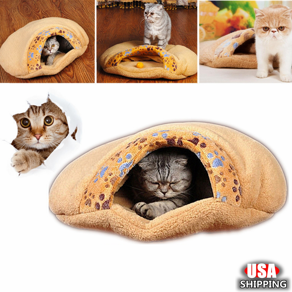 Winter Cute Warm Cat Bed Small Dog House Winter Warm Pet Cat Bed Small Cat Sleeping Bag Puppy Cave Bed