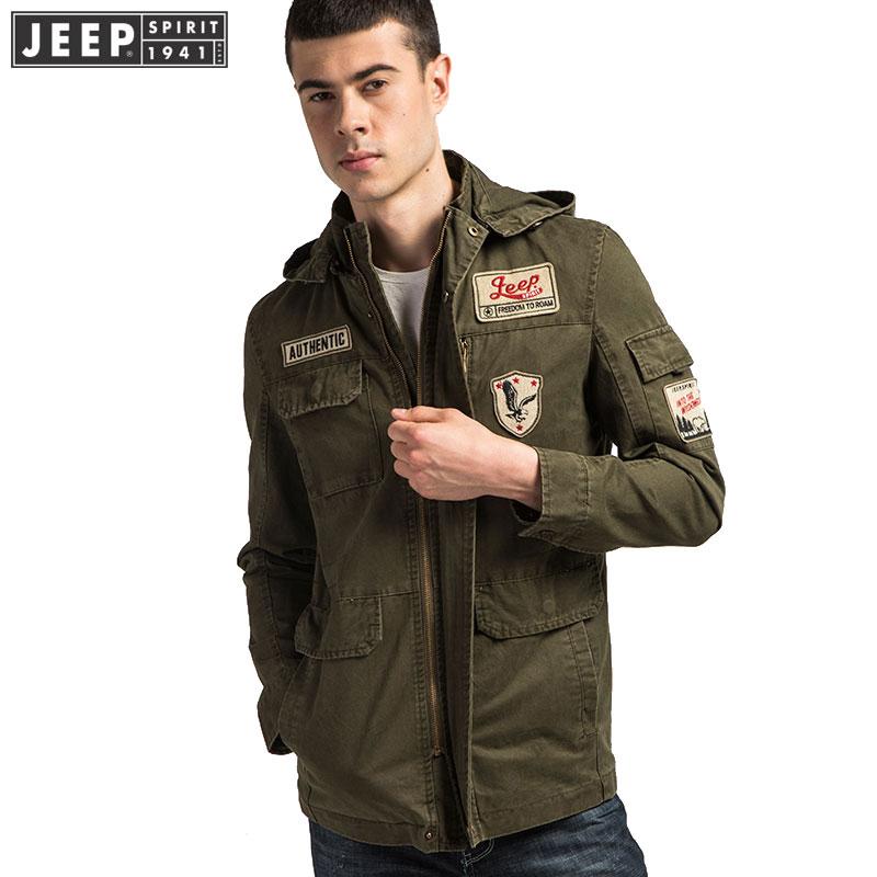 Men Clothes JEEP 2019 Spring Cargo Jackets Coat Safari Hooded Bomber Clothes Long Sleeve Solid Color Fashion Jacket Original