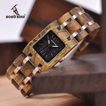 Saatler'ten Kadın Saatleri'de Relogio Feminino BOBO kuş 25mm kadın saatler ahşap saatler lüks marka üst kız arkadaşı hediyeler ahşap kutusu Drop Shipping
