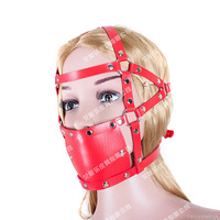 Sex products red Leather mask with open mouth gag ball fetish mask bdsm bondage hood adult games sex toys for women men