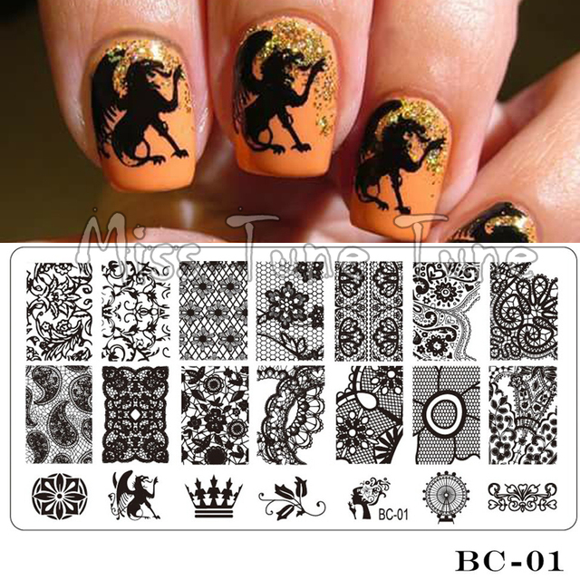 Kant Stempelen Plaat Bc01 Nail Art Template Stempelen Image Transfer