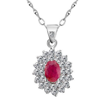 Natural Ruby Pendant Necklace 925 Sterling silver Woman Fine Hot Pink Gem Jewelry Birthstone Valentine Princess Gift SP0343RNatural Ruby Pendant Necklace 925 Sterling silver Woman Fine Hot Pink Gem Jewelry Birthstone Valentine Princess Gift SP0343R