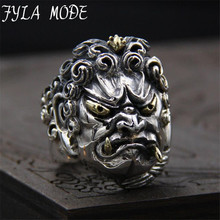 FYLA MODE 100% Hand Made Customezid 925 Pure Silver Acalanatha Ring Collection Figure for Holiday Gift 31mm Width 29G PBG038