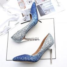 6b577ca7 Gwiazda z tym samym gradient cekiny wysoki obcas szpilki z srebrny  pojedyncze buty kryształowe druhna buty ślubne dla nowożeńców.
