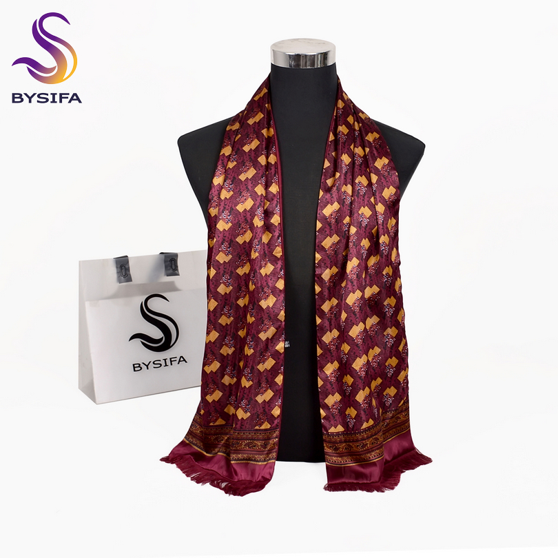Warm Silk Scarf Tassel Male Winter Fashion BYSIFA Tie Cravat Fall Men Double-Layers 165--24cm