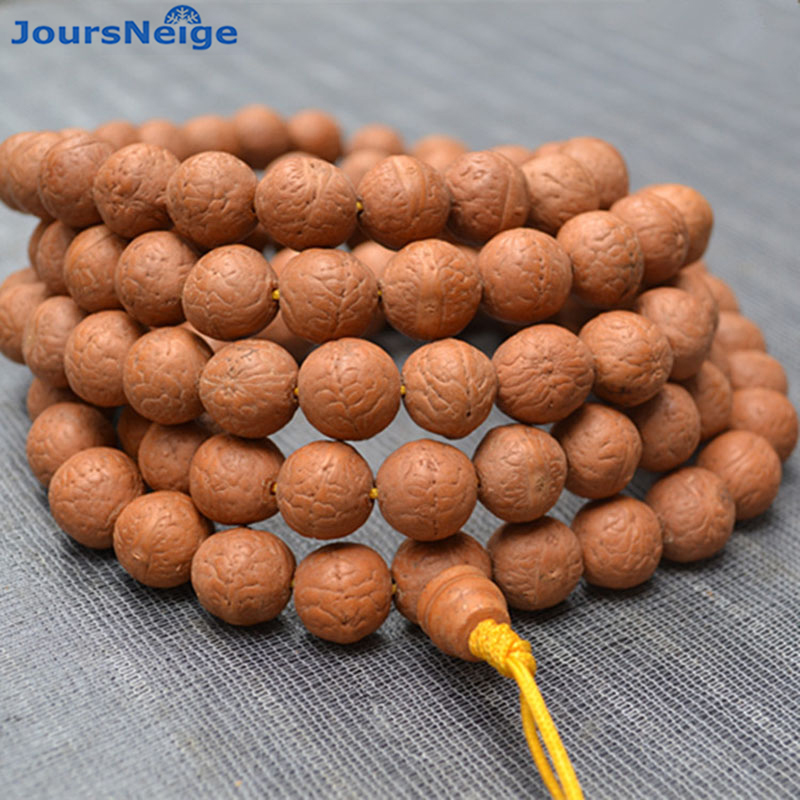 Gros jaune peau sourcils naturel Bodhi bracelets Original graine Bodhi rond 108 bouddha perles bricolage main chaîne accessoires
