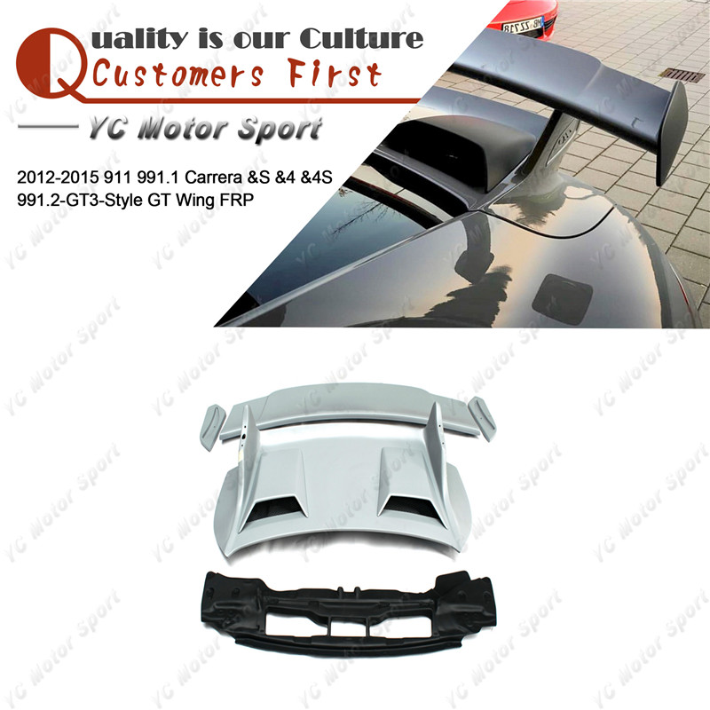 Car Accessories FRP Fiber Glass Trunk GT Wing Fit For 2012 2015 911 991.1 Carrera &S &4 &4S 991.2 GT3 Style Rear Spoiler Wing