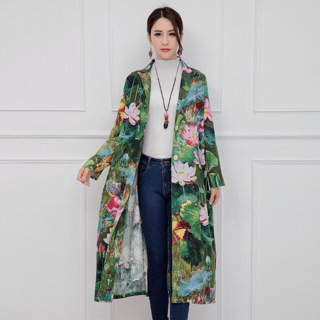 Пальто Женщины Тонкий Clothing 2017 Новая Коллекция Весна и Осень пиджаки Женщины Лотос Цветочный Ситец и Лен Длинные Траншеи пальто