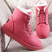 Snow boots women plus size 9-10.5 winter plush non-slip rubber boots for women lace-up fashion ankle boots ladies taoffen winter genuine real leather boots women plush ankle snow boots feminina platforms fashion lace up women shoe size 33 43