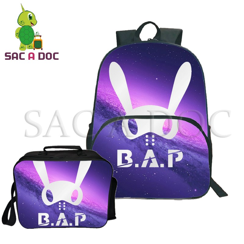 Kpop B.A.P Rabbit Team Backpack 2Pcs/Sets School Backpack for Teenage Girls Boys Casual Travel Rucksack with Cooler BagKpop B.A.P Rabbit Team Backpack 2Pcs/Sets School Backpack for Teenage Girls Boys Casual Travel Rucksack with Cooler Bag