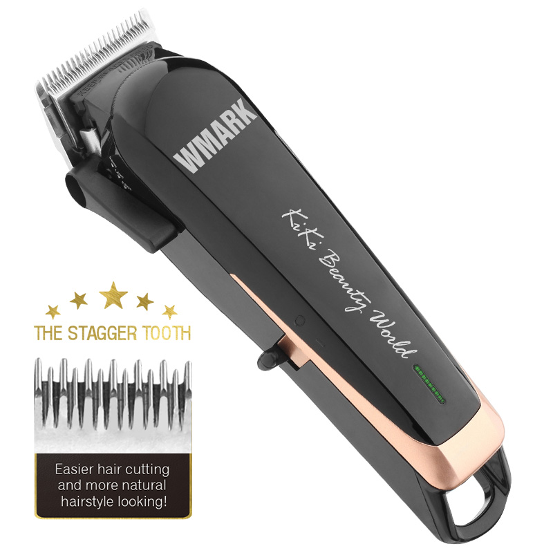 WMARK Professional cordless Hair cutter Hair Trimmer 6500 rpm hair clipper adjustable length with Stagger Tooth