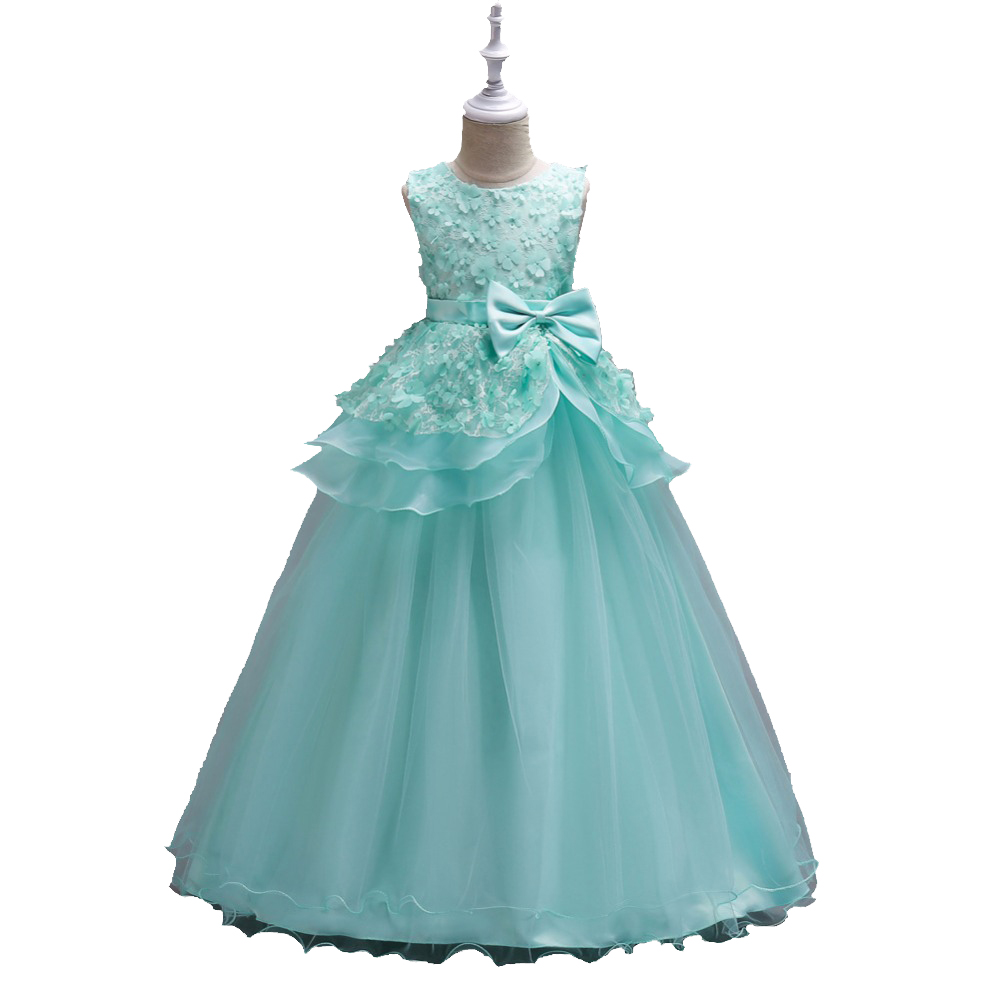 2017 New fashion Dress for Girl Princess Bow Party dress for Baby Girl sleeveless Dress for 5 6 7 8 9 10 11 12 13 14 15 16years new fashion suspender with sleeveless shirt suit for girl