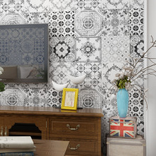 Southeast Asian Style Wallpaper Black And White Blue Yellow Bohemian Bedroom Living Room Roll