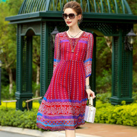 A4ZT950 New Fashion Women Summer Dresses Exquisite High end Nail Bead Embroidery100% Silk Dress