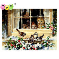 New Free Shipping Needlework Diy Diamond Painting Kit 3D Decorative Painting Stitch Plants Embroidery Cats And