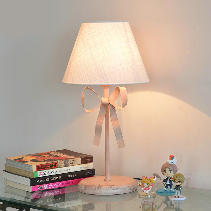 wedding pink Bow table Light reading desk lamp Girl s Children Room Pink Butterfly knot table