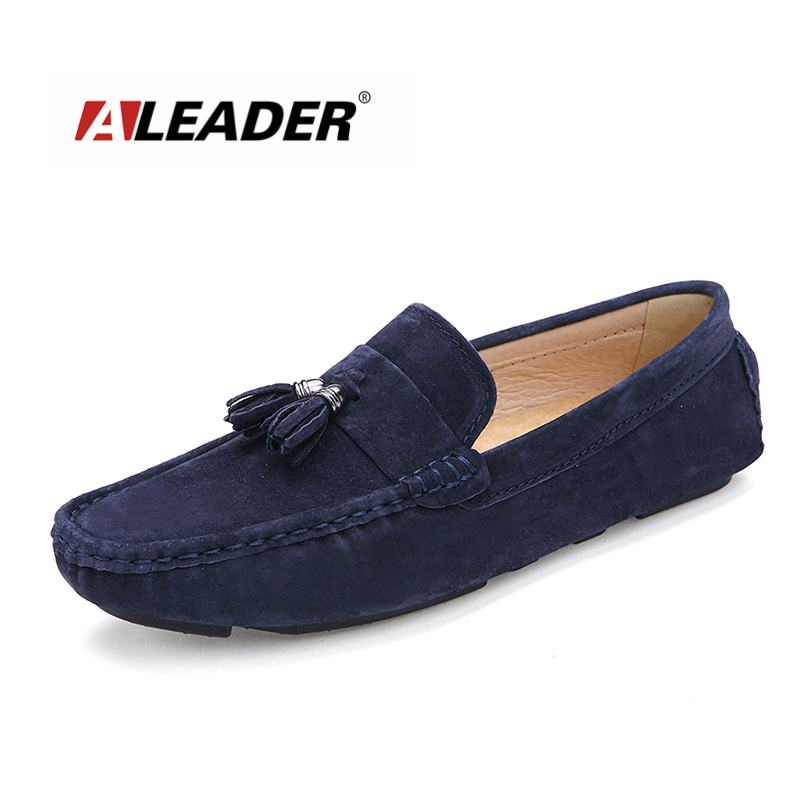 Aleader 2016 Men Loafers Casual Suede Leather Men's Flat Shoes Fashion Slip on Men Driving Loafers Original Brand Lazy Moccasins aleader mens leather loafers new 2017 casual flat shoes men driving moccasins fashion slip on mens working flats sapatos