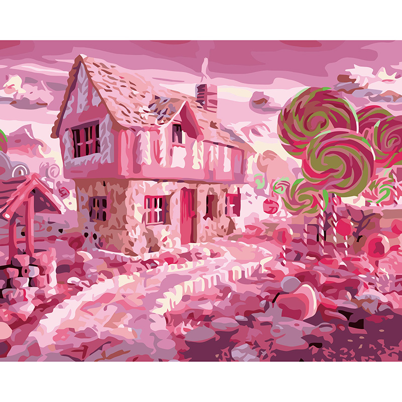 Candy House Sweet Wonderland Painting By Numbers On Canvas DIY Digital Home Decor Coloring By Numbers Picture Christmas Gift