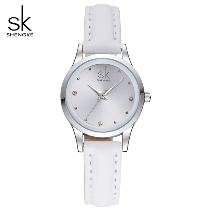 SK New Design Fashion Ladies Watches Elegant Rhinestone Female Quartz Watch Women Pink Leather  Waterproof Clock Montre Femme infrared light beam photoelectric sensor module