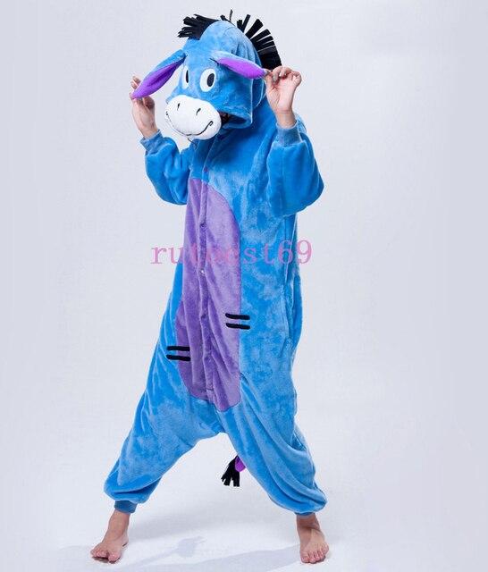 1ce138d32ab6 Funny Warm Eeyore Donkey Animal Onesie Pajamas Sleepsuit Sleepwear Costume  For Women Or Men Adults AEEYO-1
