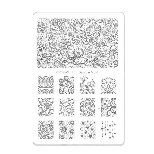 Cici Sisi Acrylic Nail Art Print Sting Plates Good Quality Polish Template Manicure Stencil Diy Styling