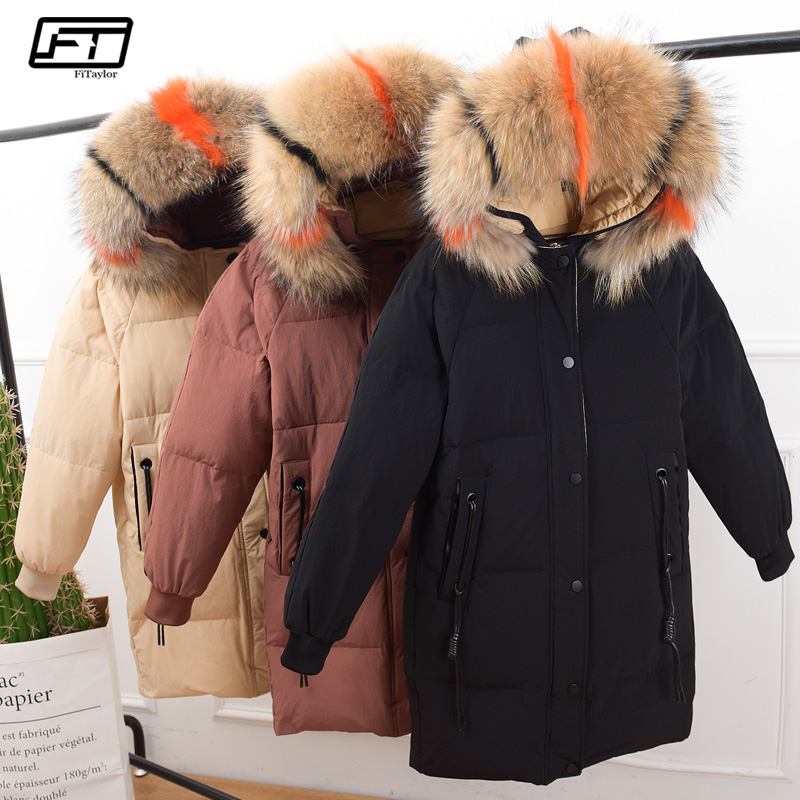 Fitaylor Women Winter 90% White Duck   Down   Parka Large Raccoon Fur Collar Hooded Jacket   Coat   Female Medium Long Loose Overcoat