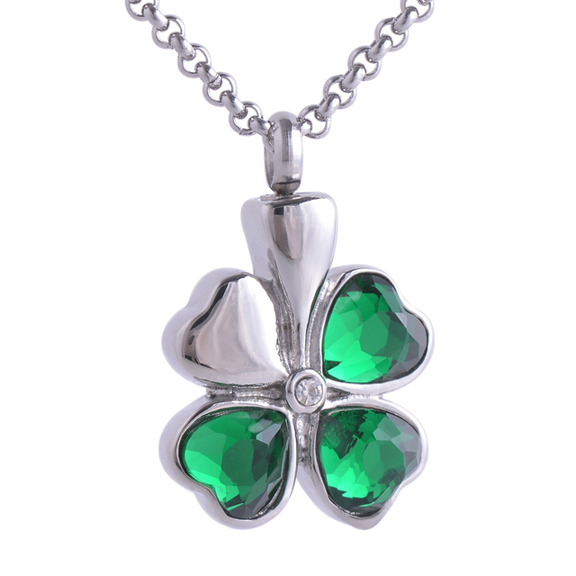 "Crystal Lucky ""Clover"" Stainless Steel Memorial Urn Necklace  Ashes Essential Necklace Funeral Pendant chain Cremation Jewelry"