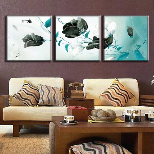 Wonderful 3 Pçs/set Flor Quadro E Peixes Abstract Canvas Wall Art Pintura A óleo  Abstrata