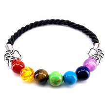2018 New Hand Made Rope Bracelet 7 Chakra Men Women Bracelet Dog Paw Charm Bangle for Pet Lovers Jewelry Gift A18091(China)