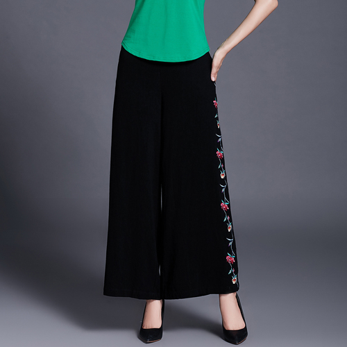 Linen Style Trousers Pants Wide Artistic Ethnic Cotton Vintage Leg Elegant Black And Women Embroidery qPHapFwn